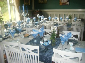 Beautiful decorated table for the christening dinner